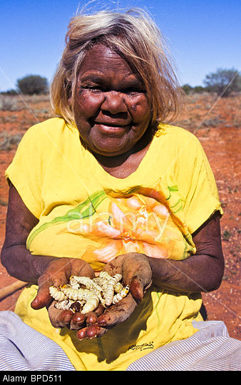 Aboriginal-woman-collecting-witchetty-grubs-Australia